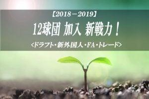 【2018-2019】12球団 新戦力 加入選手 一覧【ドラフト 新外国人 トレード FA】
